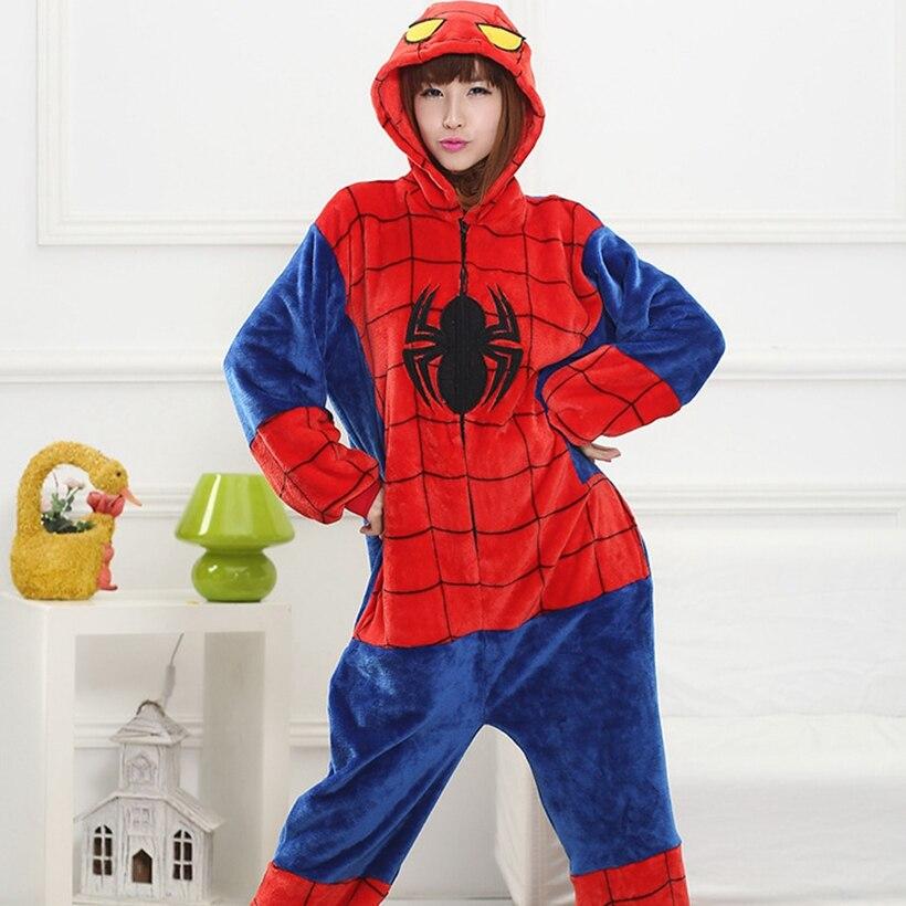 Kigurumi pijama de Spiderman Onesie Animal adulto mujeres hombres pareja Anime invierno pijama traje de dormir Pijamas de franela