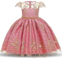 puffy princess fashion embroidered foreign style kindergarten performance dress girl lace skirt gd22