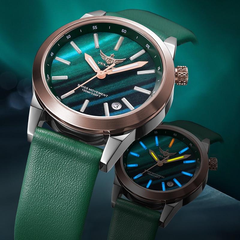 Yelang Women Tritium T100 Light Watch Ronda Movement Quartz starry sky Dial Luminous Girl Dress Wristwatch Genuine Leather