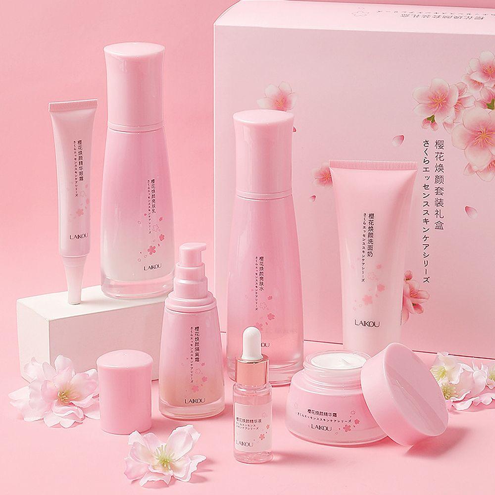 LAIKOU Cherry blossoms 7PCS Face Skin Care Product Set Repairing Anti-aging Anti-wrinkle Moisturizin