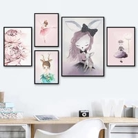 cartoon girl nordic poster and print swan horse wall art canvas painting nursery pictures kid bedroom living room home decor