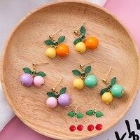 Sweet Lovely Fruit Cherry Earrings Korean Fashion Women Earrings Ear Clips Wedding Accessories