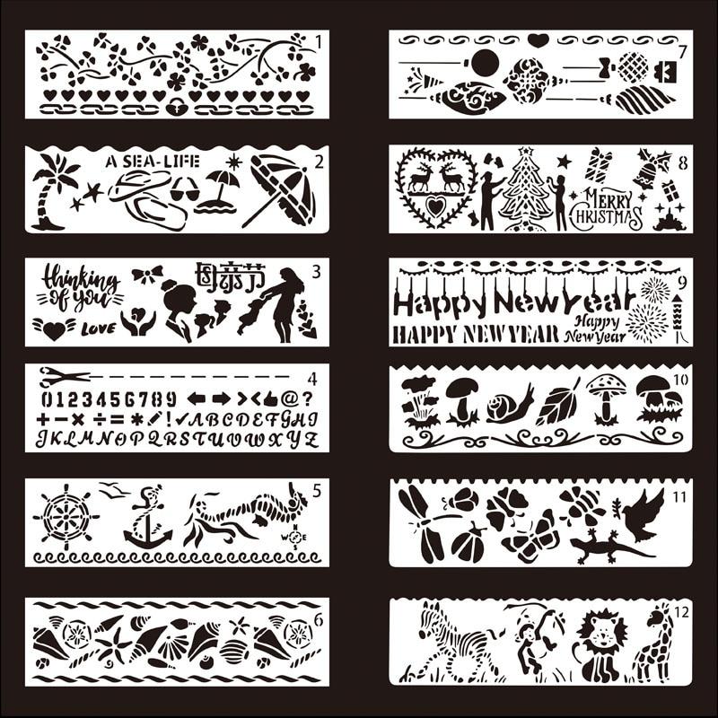 12 pièces PET bricolage journal intime peinture pochoir Photo cadre dessin livre modèle pochoirs pour thème dentelle règle