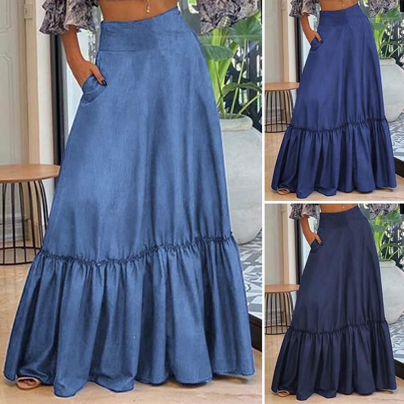 Falda de playa Bohemia, Jupe VONDA, mujer, Vintage, gran Swing, Maxi, falda larga, Faldas de verano, informal, cintura alta, Faldas plisadas