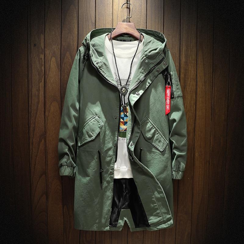 Длинный тренчкот мужской, хлопковая куртка в стиле хип-хоп, Японская уличная одежда, повседневные куртки с капюшоном армейского зеленого цв...
