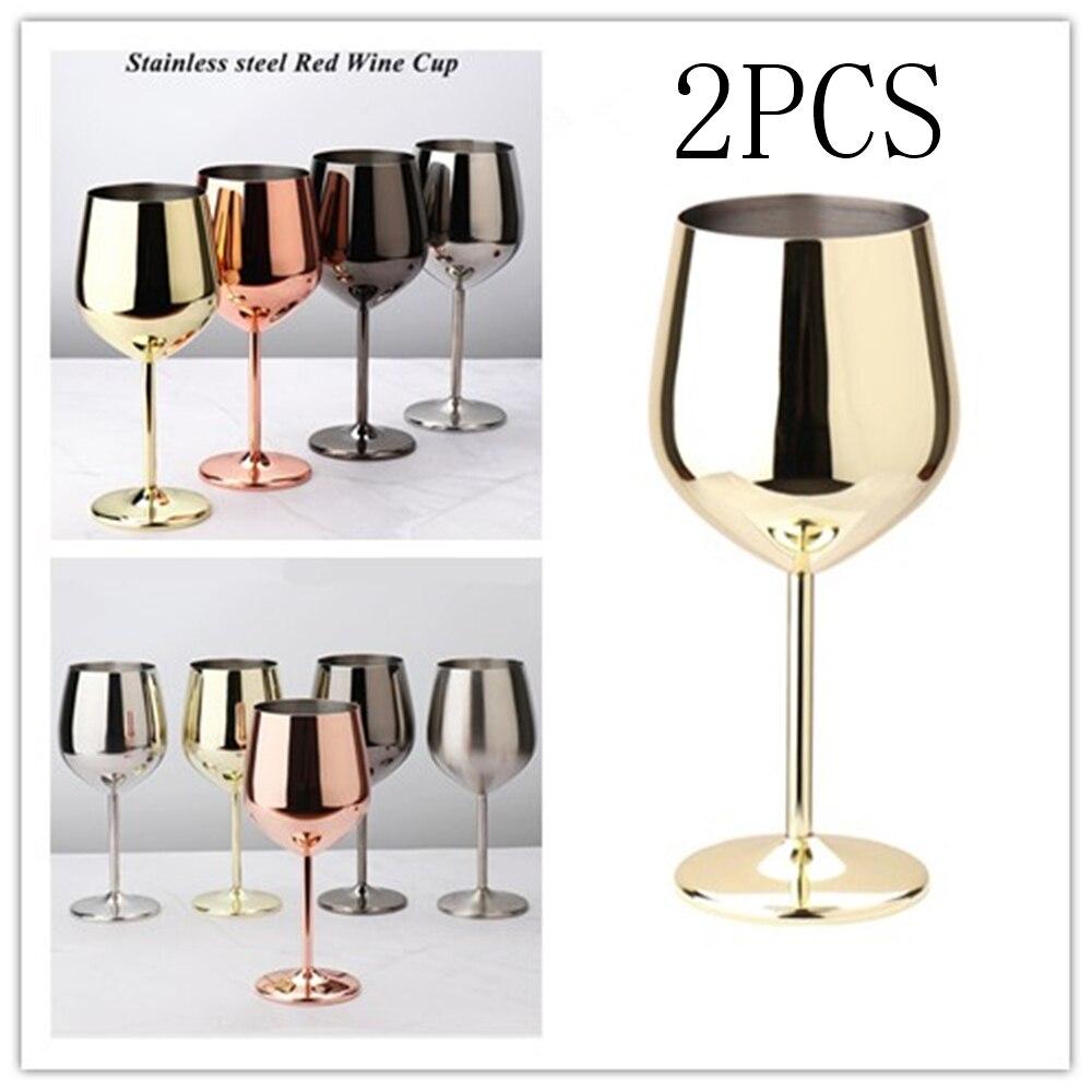 2 قطعة كوب نبيذ أحمر الشمبانيا كأس كوكتيل الزجاج 200 مللي/500 مللي النحاس مطلي wineglas المنزل حفلة قطرة مقاومة المقاوم للصدأ كوب