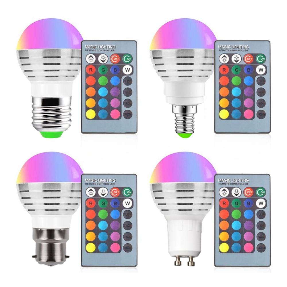 RGB LED Birne 9W Licht Bühne Lampe Fernbedienung Led-leuchten Für Home E27 E14 B22 GU10 MR16 GU10 speicher Funktion Farbe Chang D40