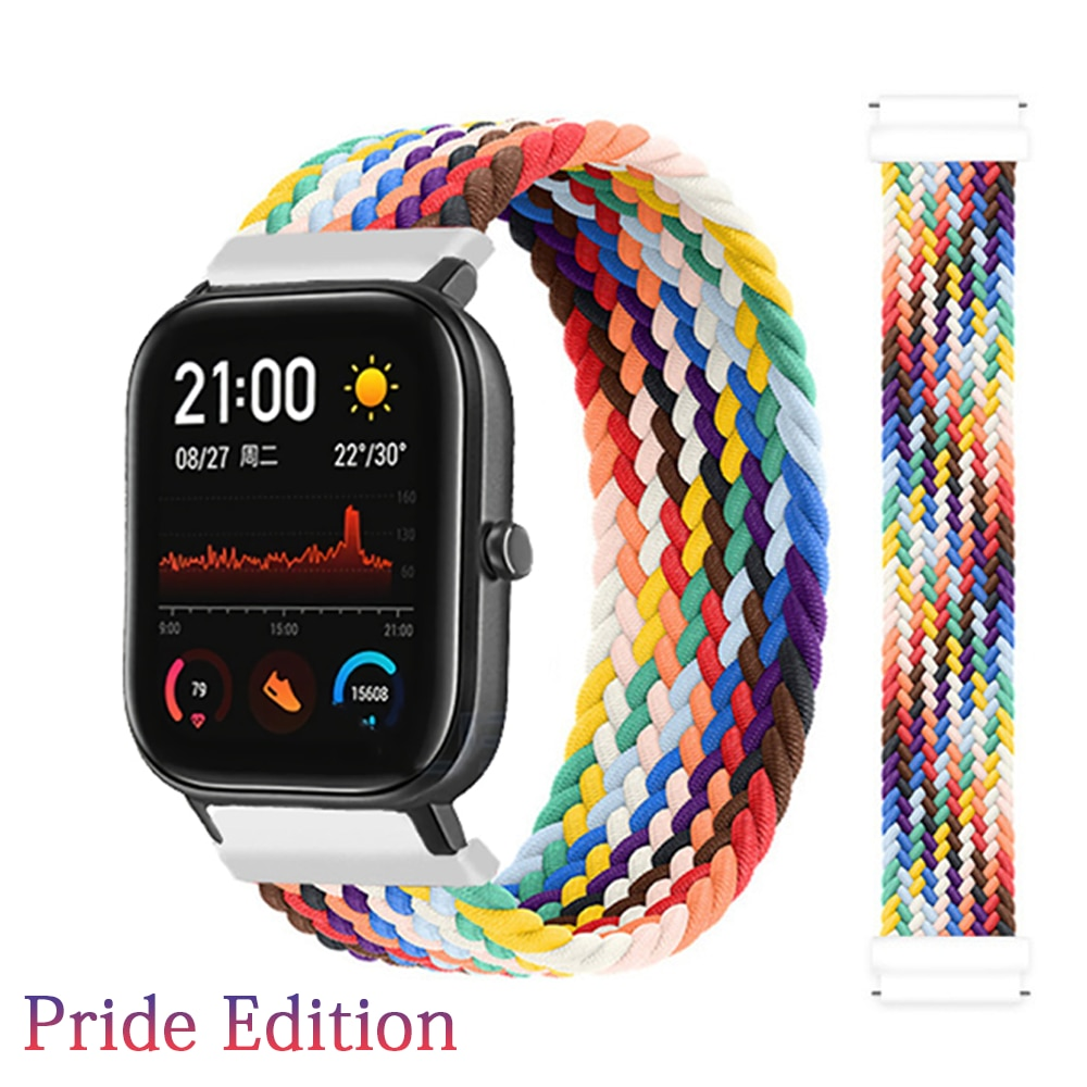 sikai 15w fast wireless charger phone watch stand removable for amazfit gtr2 gtr 2e gts2 gts2 mini gts 2e bip u pro t rex pro 20mm 22mm Braided solo loop For Amazfit GTS 3/2/2e/GTS2 Mini/GTR 3 Pro/GTR2/2e/stratos 2/3 Bracelet Watch band Amazfit bip strap