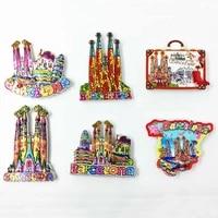 Fridge Magnet Tourist Souvenir Barcelona Spain Color Mosaic Landmark Magnetic Refrigerator Sticker City Travel Decor Scenic Gift