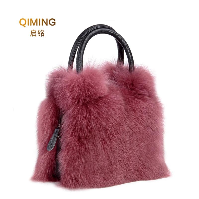 حقيبة يد نسائية من فرو الثعلب الأصلي ، حقيبة كتف من الجلد الطبيعي ، عصرية