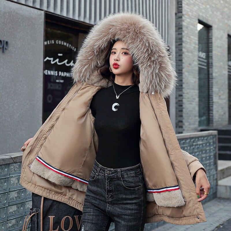 Зимние куртки, женские парки с большим меховым воротником, Свободные повседневные длинные пальто с капюшоном, Женское пальто, три предмета, ...
