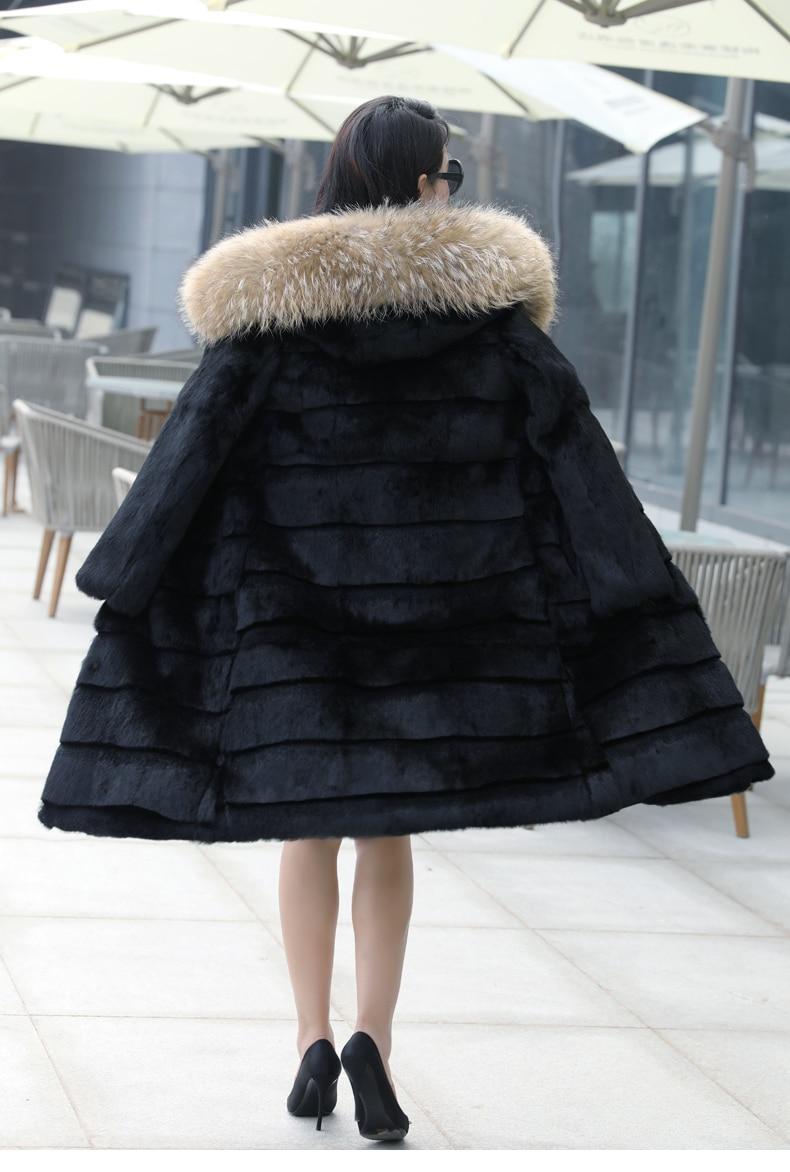 90% بطة أسفل سترة النساء ريال الراكون الفراء معطف 2020 الشتاء الإناث الدافئة مقنعين طويلة سترة موهير chaquetas بلوماس LX2380