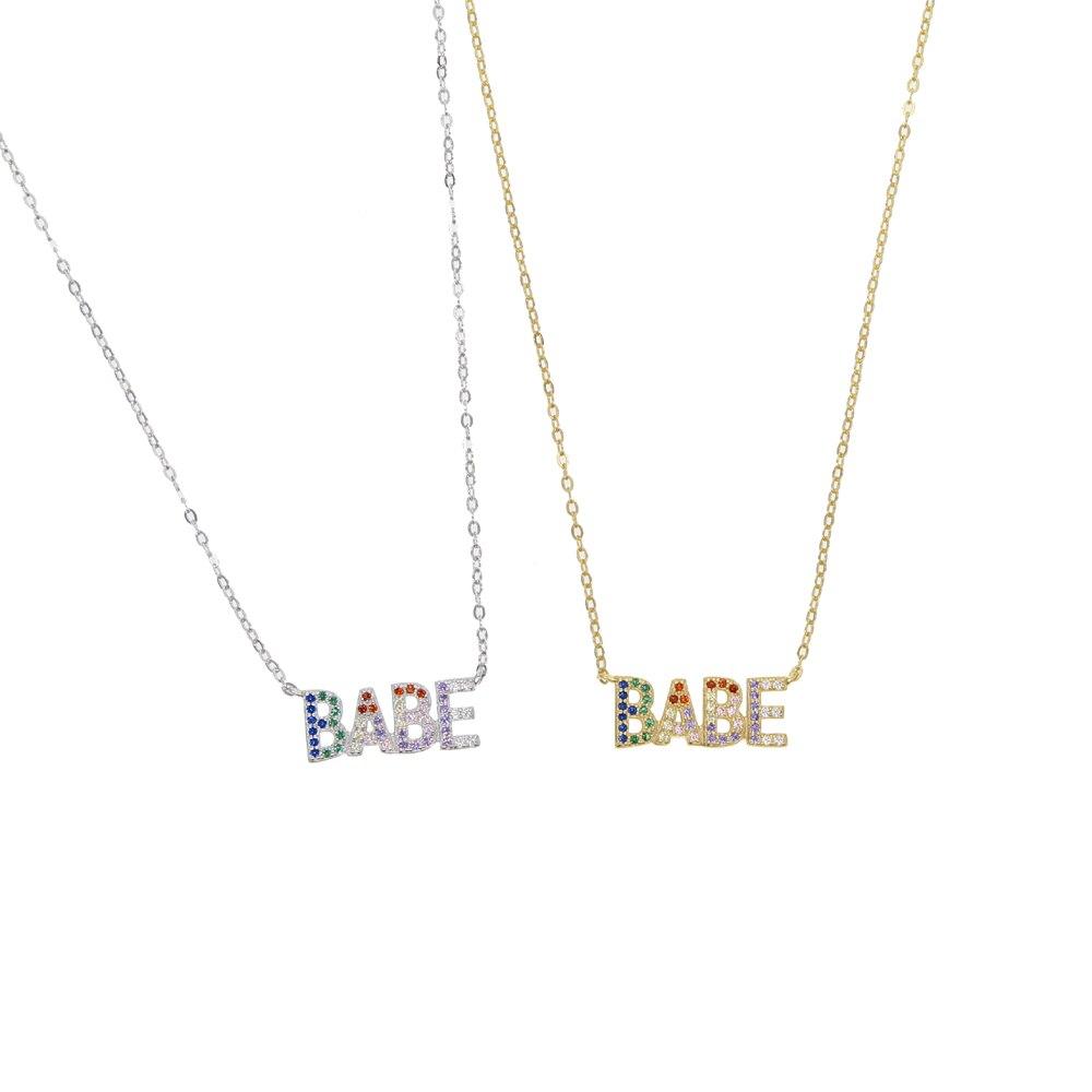 2019, collar de letras Arco Iris cz pastel BABE de alta calidad, delicado collar de plata de ley 100% 925, joyería colorida de moda
