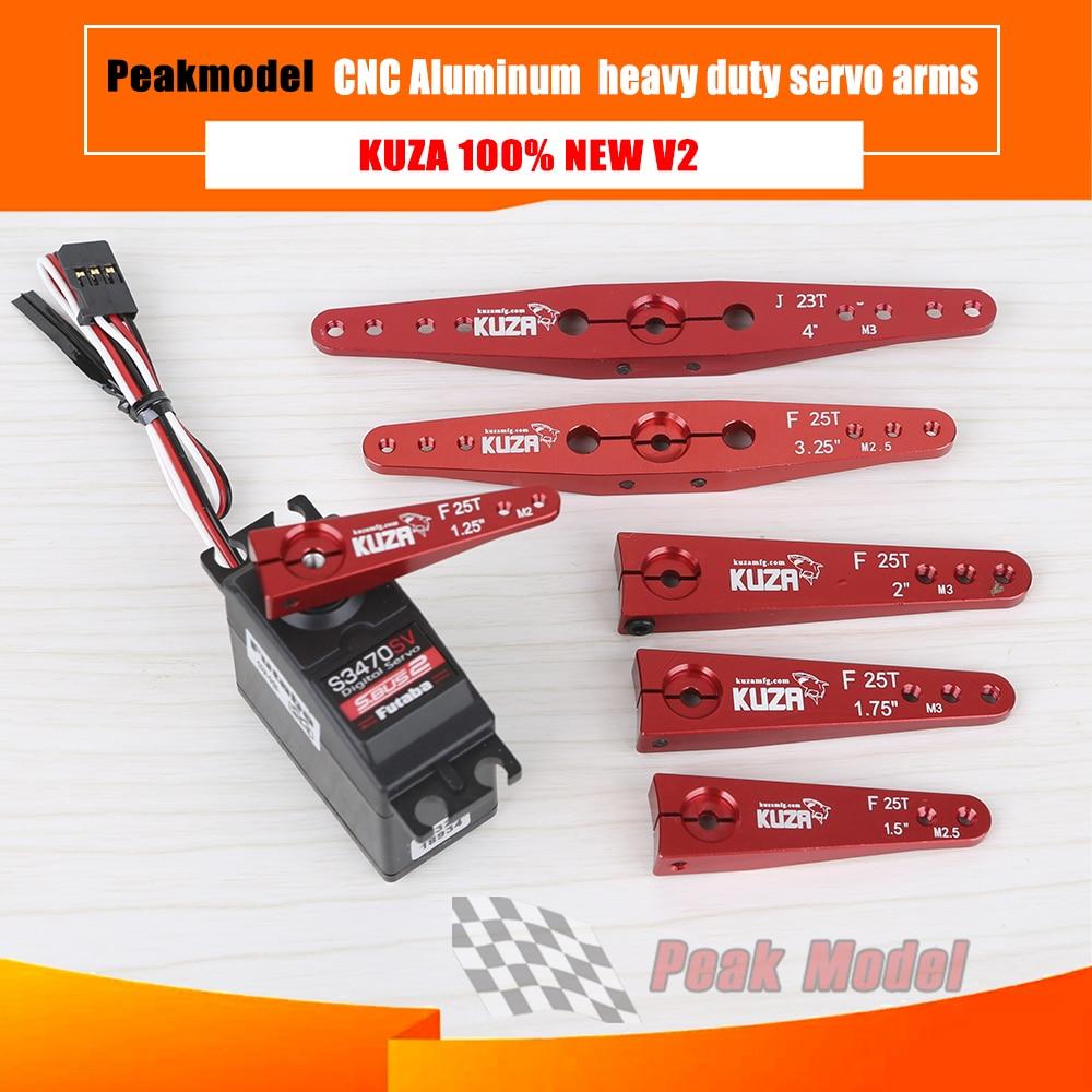 Nuevo V2 KUZA CNC de aluminio de alto torque de alta resistencia servo brazos 23T 24T 25T futaba jr hitec servo brazos extendidos