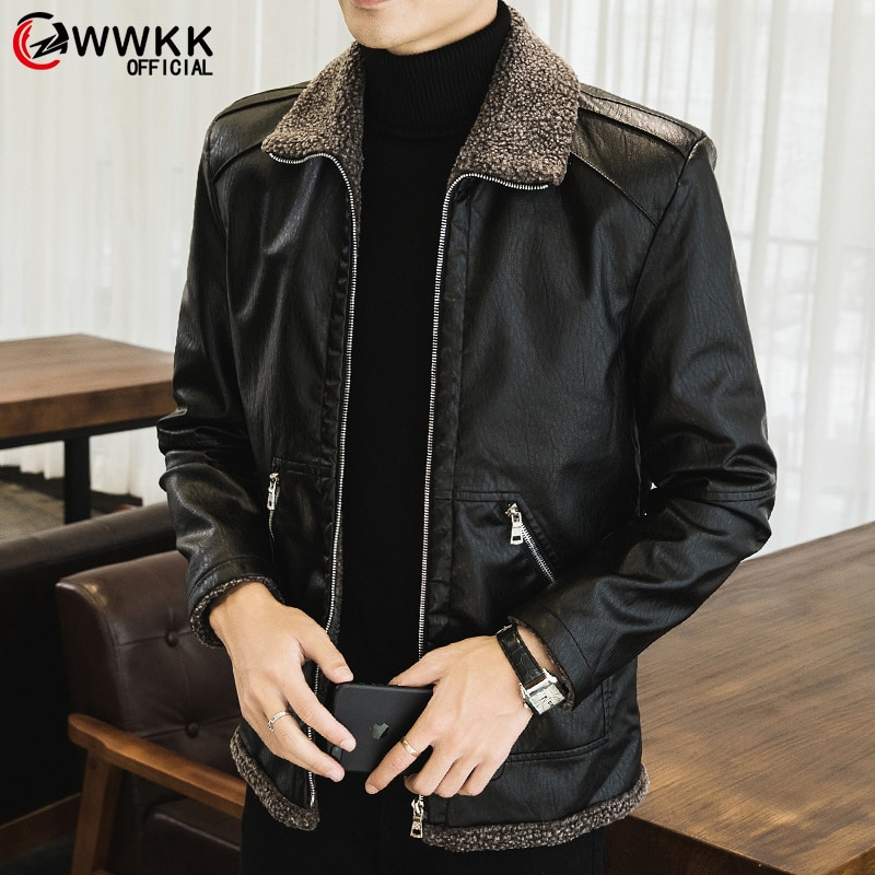 WWKK 2020 New Men's Real Leather Bomber Jacket with Fur Collar Genuine Leather Pigskin Jackets Winter Warm Coat Men