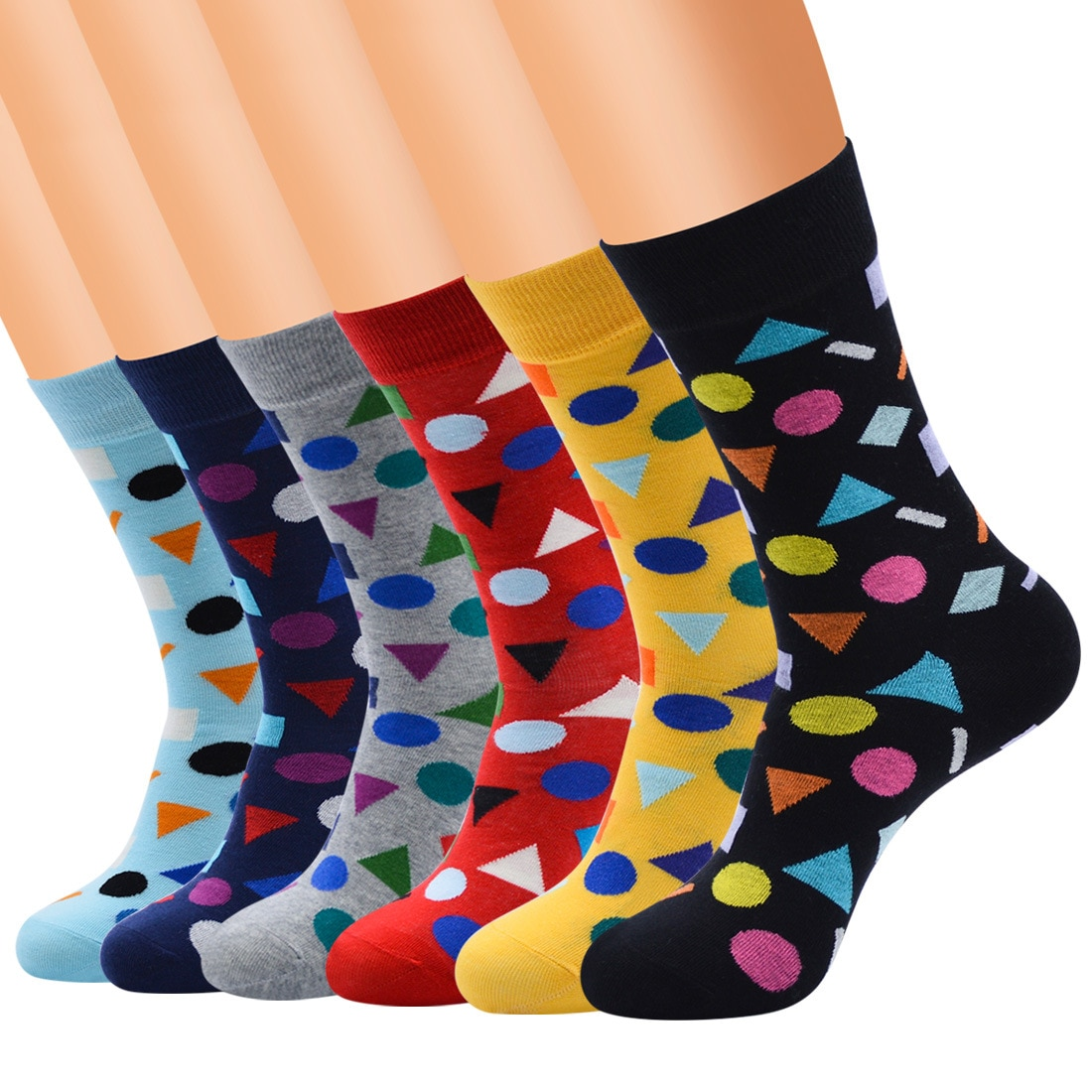 Unisex Modern New Fashion 4 Season Wearing Middle Tube Combed Cotton Geometric Pattern Socks  For Teen Girls And Boys