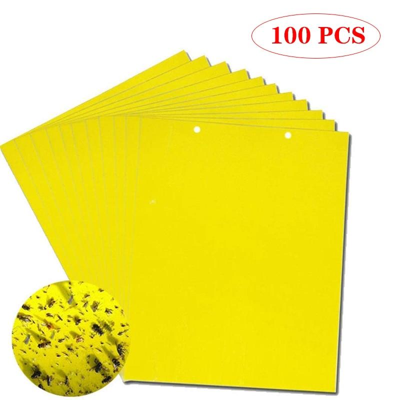 100pcs perangkap lalat kuat pepijat papan lengket dua sisi menangkap serangga perosak pengendali serangga, pelindung daun whitefly, pelekat gam