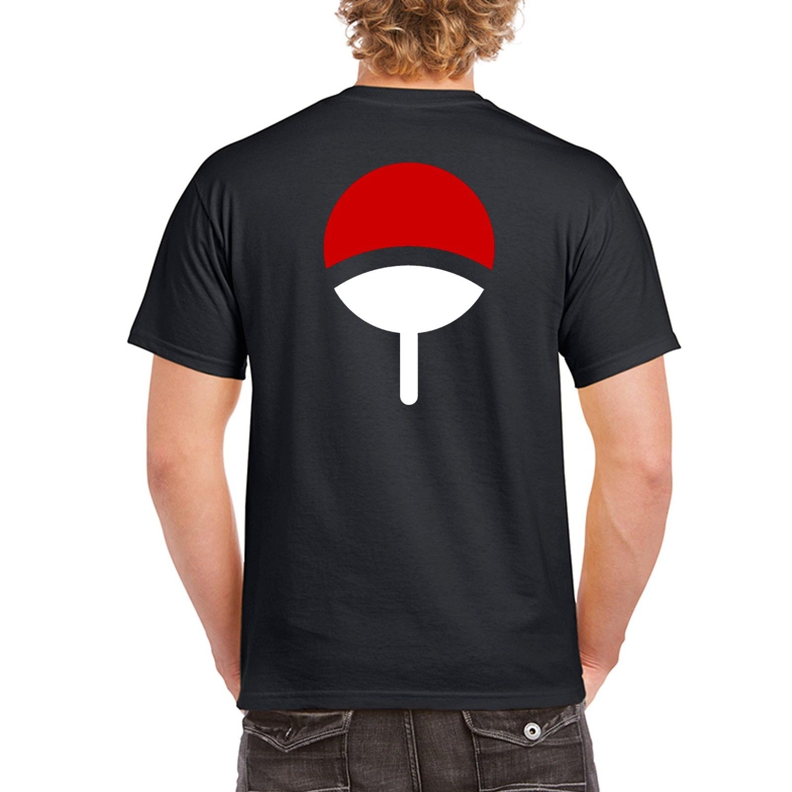 Mens Brand T-shirt Homme Tees Uchiha Clan Symbol Crest Anime Itachi Sasuke Naruto Cosplay Tee T-Shirt Black