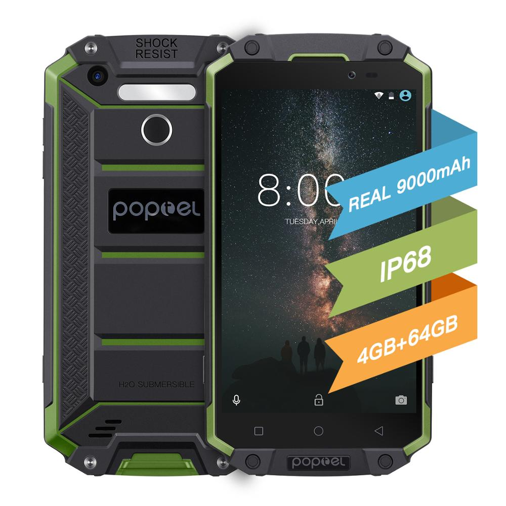 Global Version Unlock Smartphone 9000mah Poptel P9000max 4G/64G NFC Power Bank Phone Waterproof Ruggedphone Support One Week Use