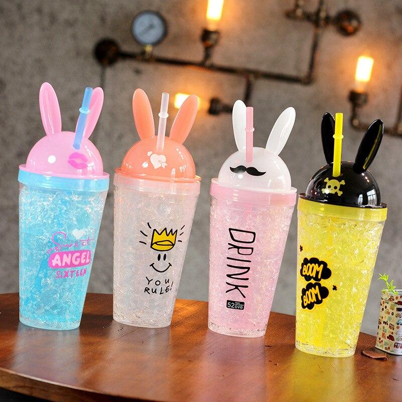 Boxi Kawaii, соломенная бутылка с заячьими ушками для питья, креативная Милая чашка с кроличьими льдами, модная пластиковая кружка с двойной соломой для девочек