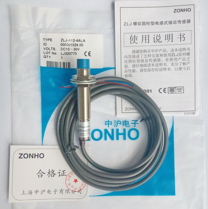 Shanghai Zhonghu Electronics ZLJ serie M12 cilíndrico CC interruptor de proximidad de tres cables