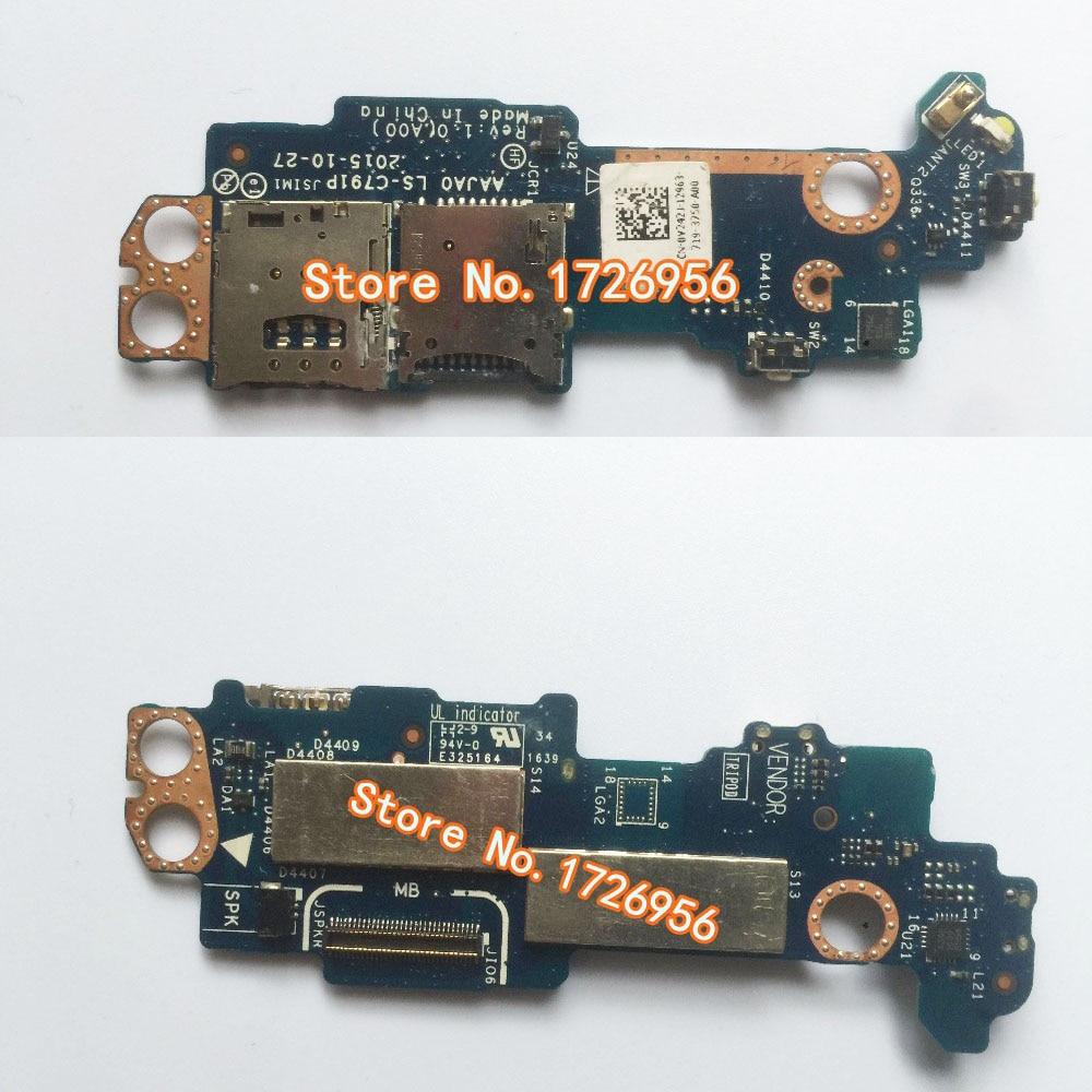 Original para Dell Latitude 5175 5179 Tablet SIM SD tarjeta lectora botón de encendido hija placa de circuito V242J 0V242J LS-C791P