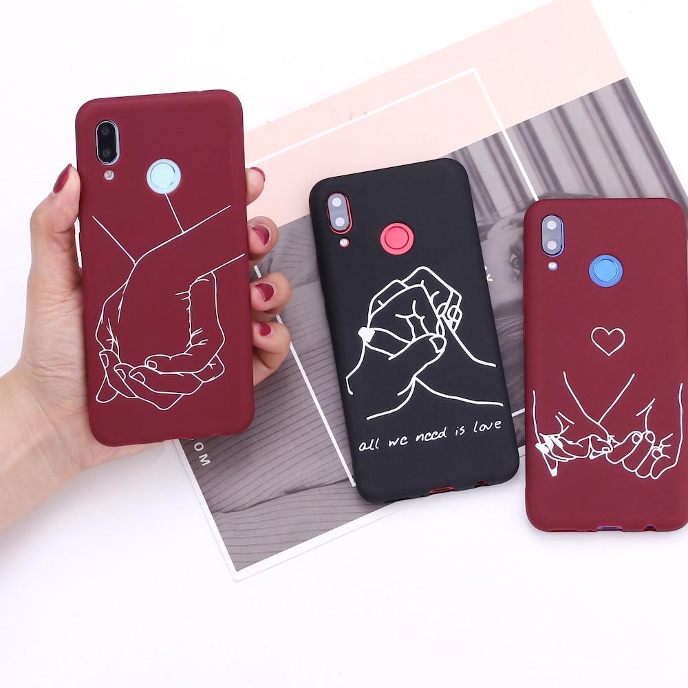 Pour Samsung S8 S9 S10 S10e Plus Note 8 9 10 A7 A8 amant main ligne coeurs Simple Silicone housse de téléphone Capa Fundas