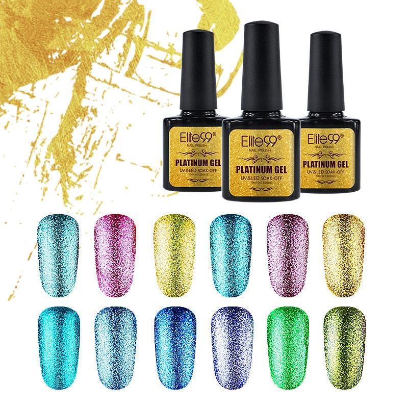 Elite99 Bling Shimmer Platinum Gel Polish Varnish UV LED Soak Off Nail Art Painting Gel UV Gel Kit Manicure UV Nail Polish 10ml