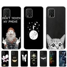Funda para Xiaomi Mi 10 Lite de 6,57 pulgadas Funda de silicona Tpu suave para Xiaomi Mi 10 Lite 5G carcasa negra con oso gato bonito