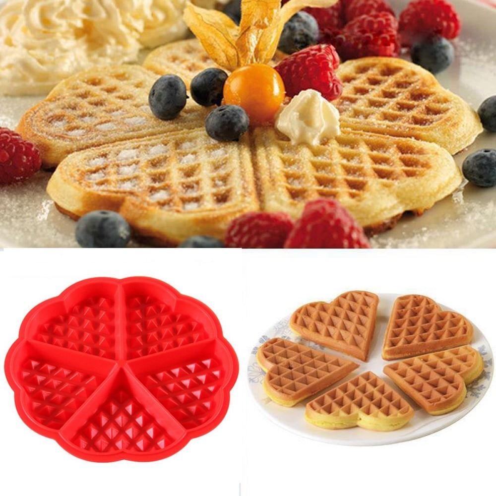 Kuchnia silikonowe Mini okrągłe gofry Pan formy do pieczenia ciast formy wafel taca