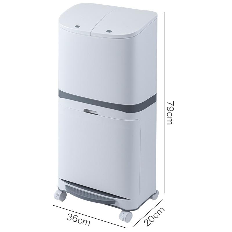 White Modern Trash Bin For Recycling Bins Kitchen Rectangle Trash Bin Storage Rangement Cuisine Household Cleaning Tools BD50WB enlarge