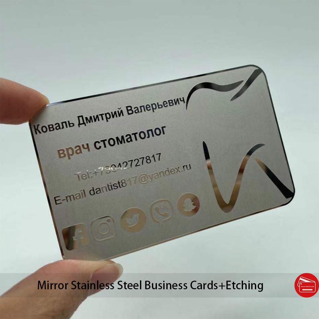 Silver mirror metal business card manufacturer printing popular custom engraved printing color