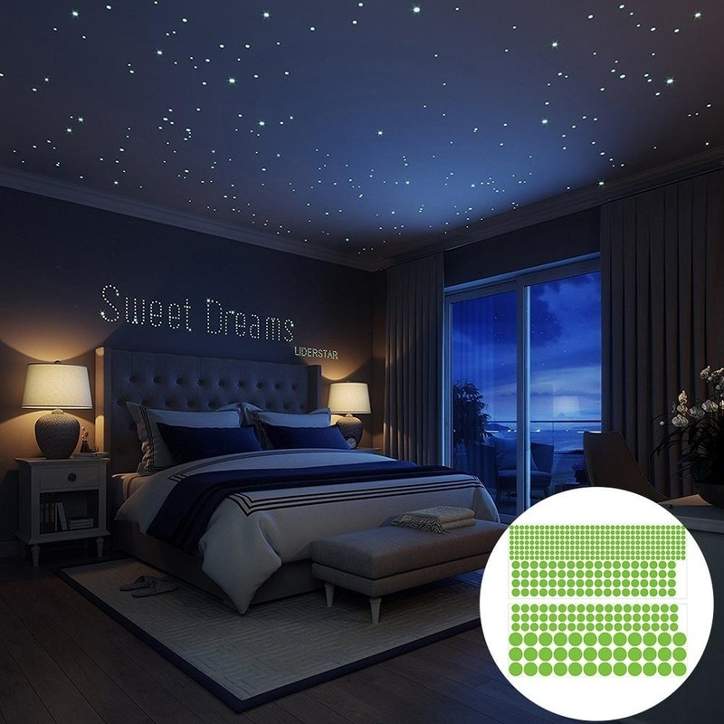 407Pcs Luminous Carving Star Point Fluorescent Home Decoration Removable Wall Sticker Children Room Wallpaper Poster