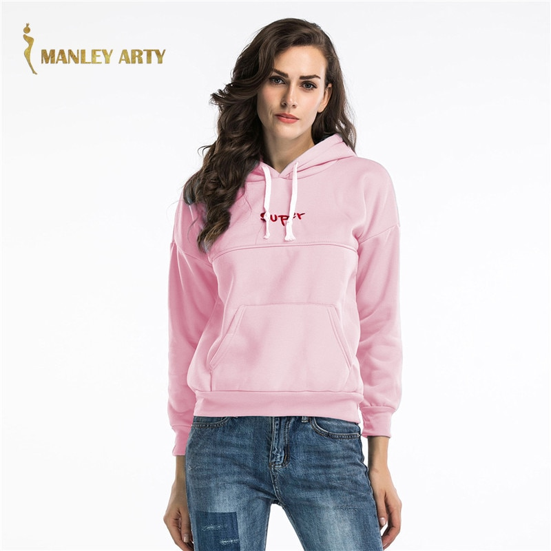 2020 Autumn Winter Embroidery Letter Women Hoodies Fleece Loose Casual Ladies Sweatshirt Female Long Sleeve Thick Pullover Tops