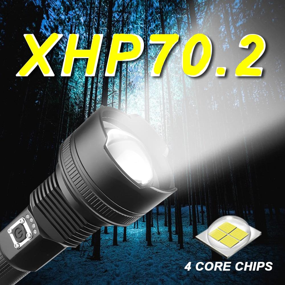 2020 portátil ultra alto brilho xhp70 lanterna led 18650 xhp50 lanterna usb recarregável tático luz 26650 zoom tocha