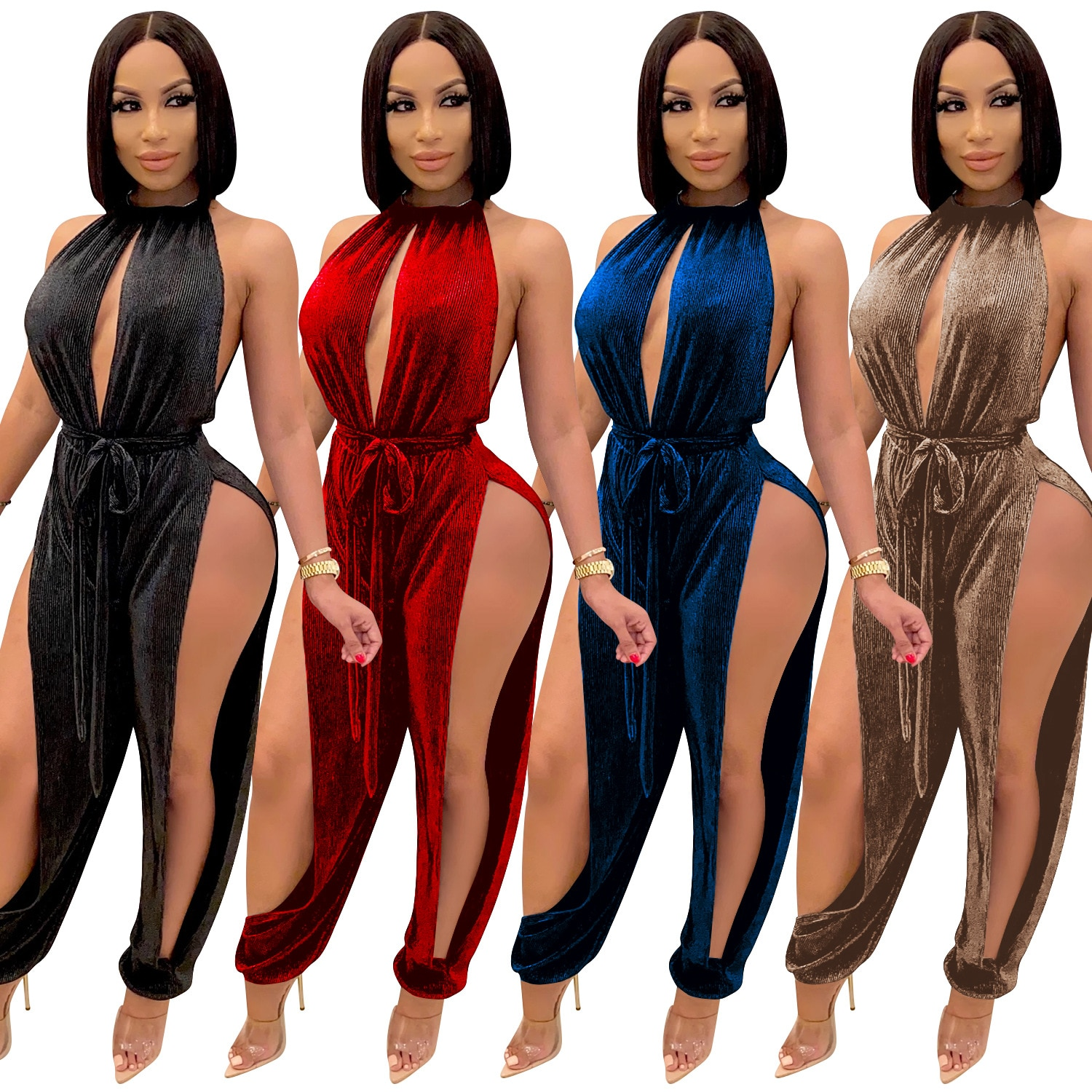Zoctuo Solid Sexy Jumpsuit Hollow Out Club Jumpsuits For Women Fashion Autumn Halter Party Rompers A