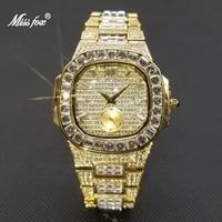 missfox 2021 luxury men watch bling full diamond gold quartz wristwatch hip hop iced out waterproof patek man clock dropshipping