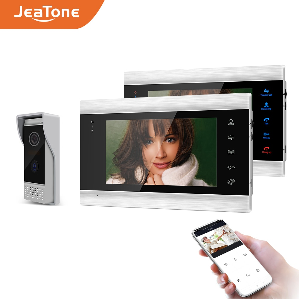 JeaTone-هاتف فيديو ذكي بشاشة مقاس 7 بوصات ، وواي فاي ، و Tuya ، ونظام اتصال داخلي بالفيديو IP ، وجرس باب بزاوية 720 درجة AHD/110 P ، ودعم الفتح عن بعد