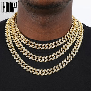 Hip Hop 2pcs Iced Out Paved Rhinestones13MM Full Miami Curb Cuban Chain CZ Bling Rapper Necklaces For Men Women Jewelry