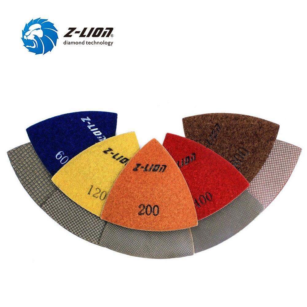 Z-LION almohadilla de lijado Triangular de 80MM 5 uds. Herramienta múltiple renovadora almohadillas de diamante electrochapado accesorio para renovador dremel