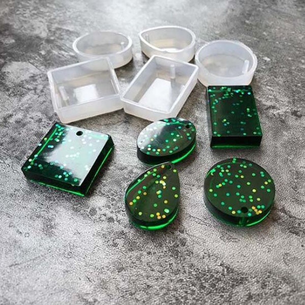 Прямоугольная круглая овальная силиконовая форма для изготовления подвески, силиконовая форма ручной работы, эпоксидная смола для изготов...