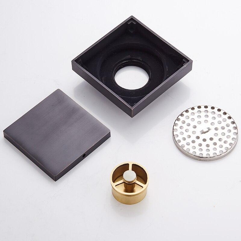 Купить с кэшбэком Toilet Floor Drain Black Brass Drain Covers Sink Floor Waste Grates Square Bathroom Shower Drainer Strainer