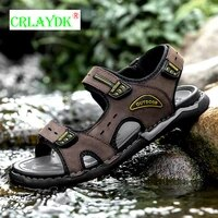 crlaydk summer mens outdoor beach sandals non slip waterproof open toe strap shoes leather casual wading hiking flat slippers