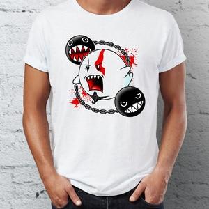 Men's T Shirt Mario Boo Kratos God of War Funny Crossover Shirt Mens Tshirt Hip Hop Streetwear New Arrival Male Clothes