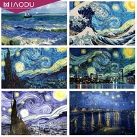 Miaodu Van Gogh nuit etoilee 5D bricolage diamant peinture pleine perceuse strass diamants broderie mosaique passe-temps artisanat decor a la maison