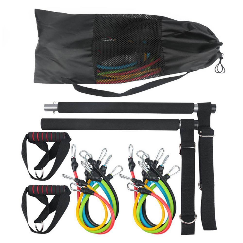 بيلاتس للياقة البدنية بار مع اليوغا المقاومة العصابات المحمولة TPE مطاطا حبل الموتر قوة التدريب لمجموعة أجهزة لياقة بدنية