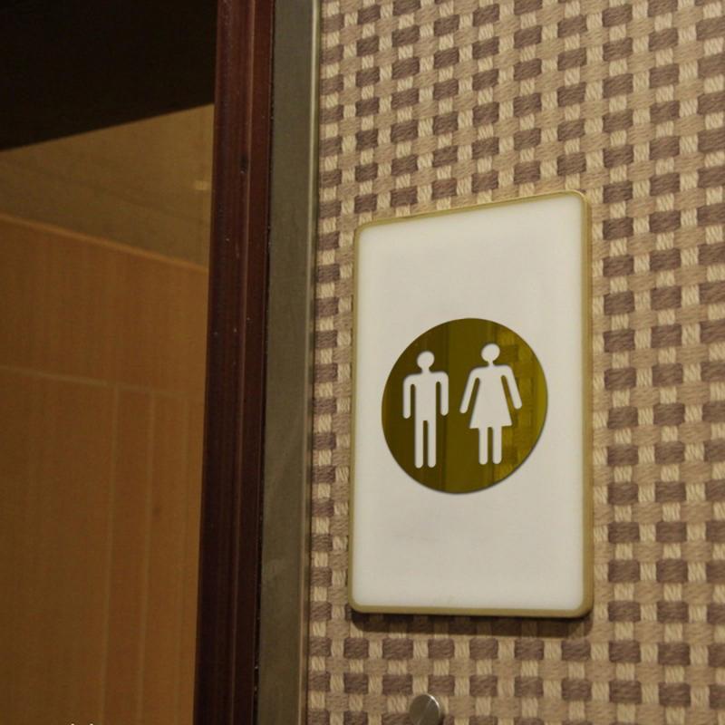 Espejo acrílico 3D redondo letrero para puerta de baño hombres mujeres cuarto de baño WC negro oro plata moderna madera Base pegatina de pared decoración del hogar