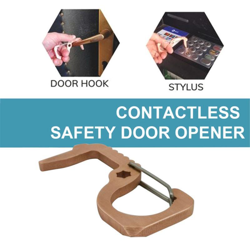 Анти-контактный лифт кнопка пресс инструмент портативный металлический открывалка двери Лифт ручка ключ Бесконтактный безопасности открывалка двери