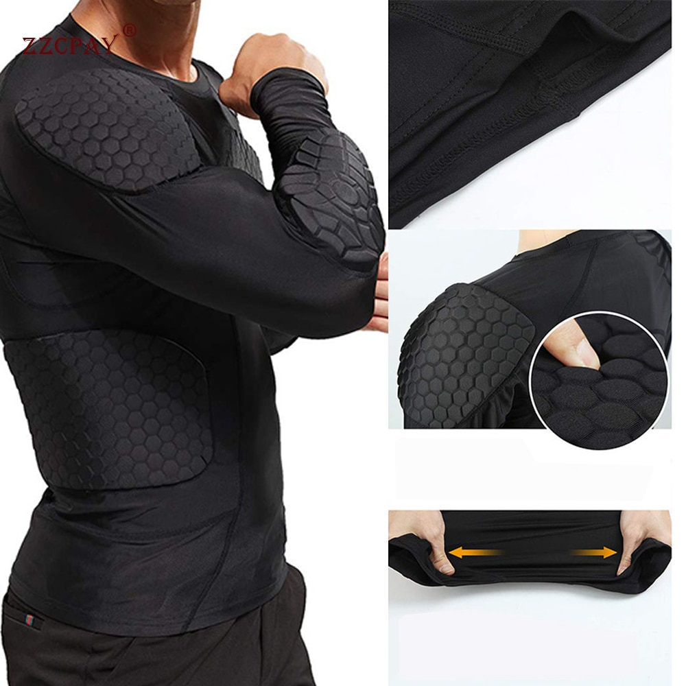 Herren Sweatshirt Kompression Shirt Rippen Brust Schutz Basketball Fußball Schutz Ausrüstung Ausbildung Ball Anzug langarm