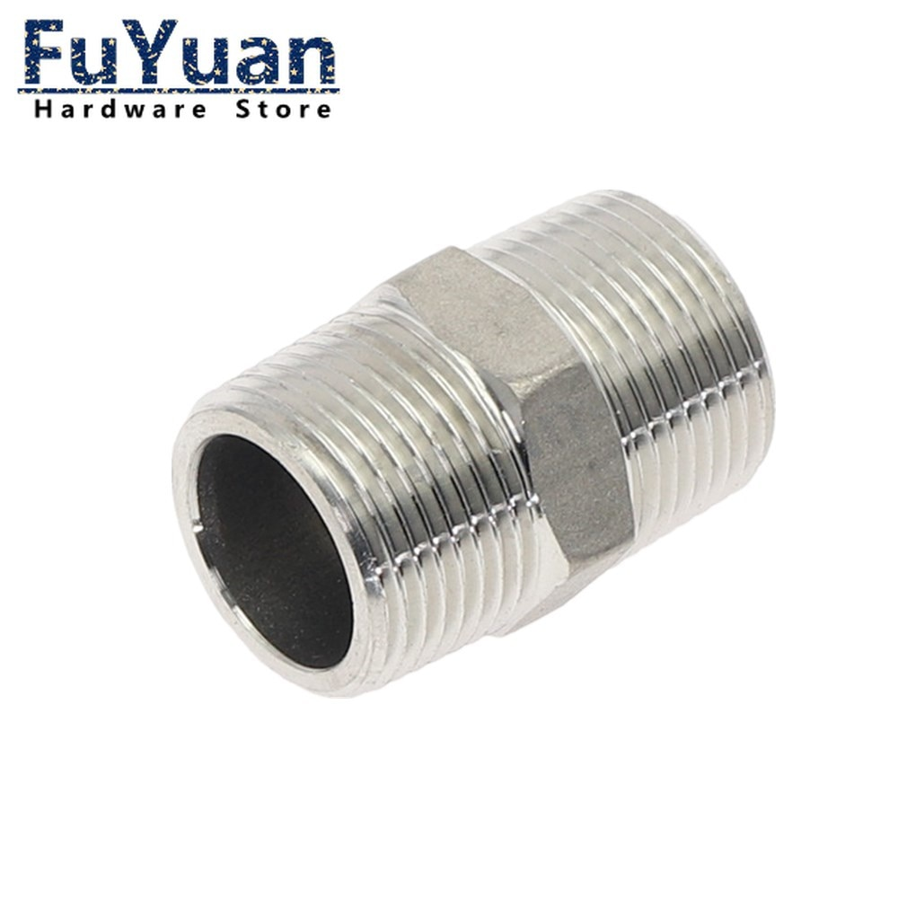 Фото - SS304 fittings Stainless Steel threaded connector Adapter 1/8 1/2 3/8 1/4 Male Straight Hexagon Joint Nipple Pipe Connection water connection adpater 1 8 1 4 3 8 1 2 3 4 1 1 1 4 1 1 2 female threaded pipe fittings stainless steel ss304